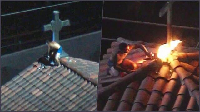 Viral Seorang Pria Panjat Gereja di LA dan Membakar Salib di Atapnya
