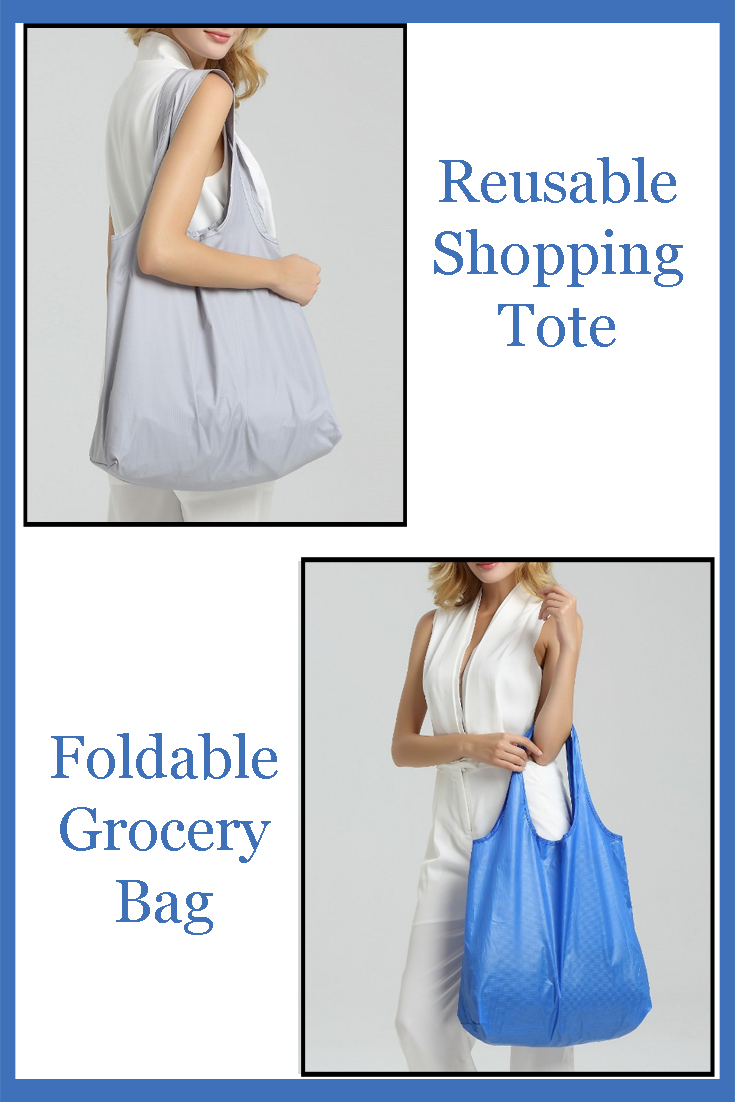 Foldable, reusable nylon shopping totes for your shopping needs.
