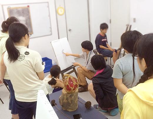 横浜美術学院の中学生教室 美術クラブ 「木炭デッサンを描こう!」先生によるデモンストレーション