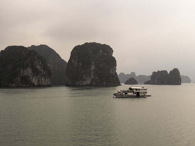 A junk on Vietnam's Halong Bay