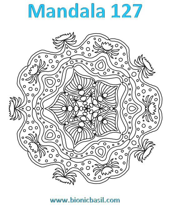 Mandalas on Monday ©BionicBasil® Colouring With Cats Mandala #127 Downloadable Image
