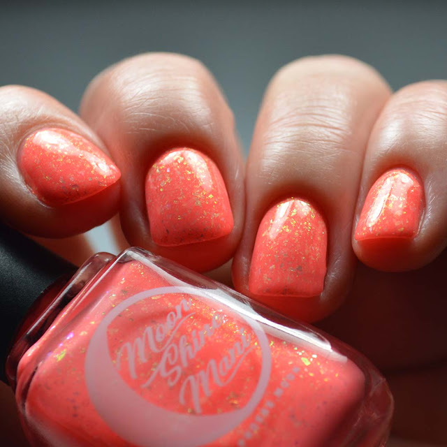 coral flakie nail polish low light swatch