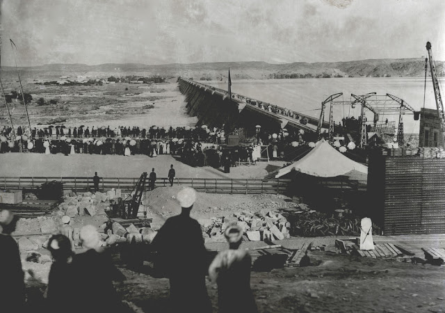 Photograph from the Henry Mowbray Cadell photograph collection. Egypt. c 1902.  Probably the opening of the Old Aswan Dam or Aswan Low Dam, built 1902. Can anyone confirm this?