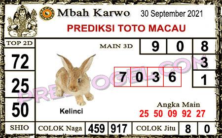 Prediksi jitu Mbah Karwo Macau Kamis 30 September 2021