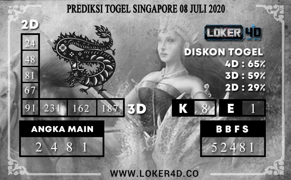 PREDIKSI TOGEL LOKER4D SINGAPORE 08 JULI 2020