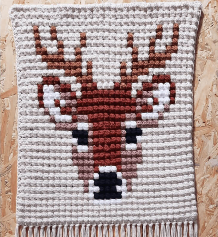 Deer Stag Wall Hanging crocheted with Bobble Stitch