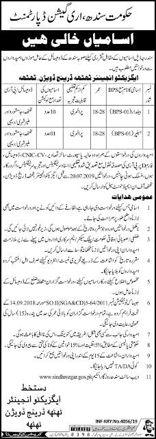 Jobs In Govt Of Sindh Irrigation Department  Jul 2019 Jobs