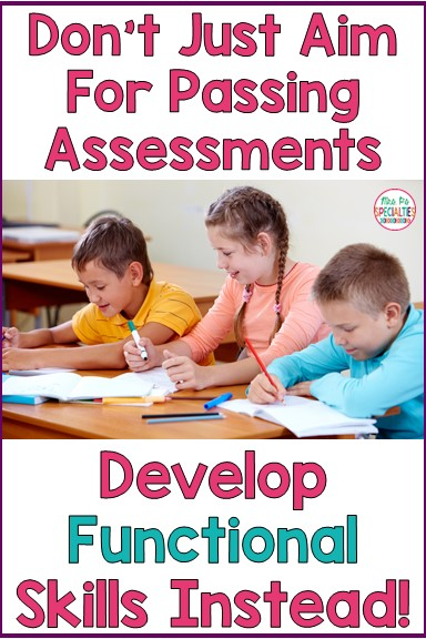 """Did you read the title and think, """"What's the difference?"""" Students mastering skills is good, but what is more important is developing functional skills. Functional academic and life skills are skills that can be used across settings, people and materials."""