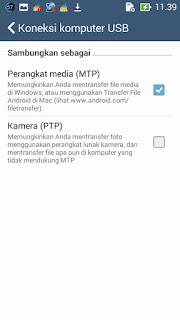 mode MTP pada asus zenfone 5