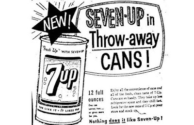 Seven-Up in throwaway cans