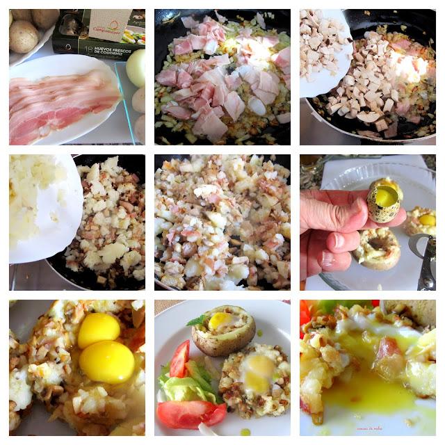 Huevos de codorniz en molde de patatas, beicon y champiñones