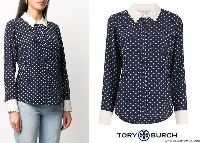 Kate Middleton wore Tory Burch navy and white polka dot blouse