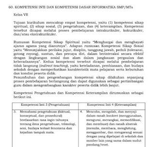 KI KD Mapel Informatika SMP SMA sesuai Permendikbud Nomor 37 Tahun 2018