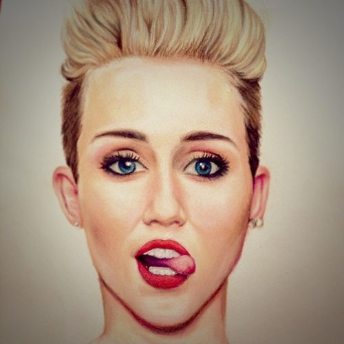 19-Miley-Cyrus-André-Manguba-Celebrities-Drawn-and-Colored-in-with-Pencils-www-designstack-co
