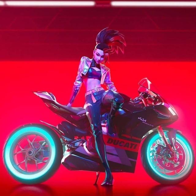 Akali from K/DA with her virtual custom Ducati V4 Panigale or somethin'...