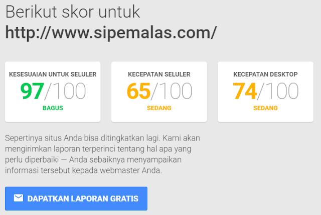 Hasil Tes Kecepatan Blog sipemalas.com