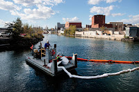 The Gowanus Canal, once a bustling transportation and shipping route in Brooklyn, New York, was declared a Superfund cleanup site in 2010. A new GAO report shows the polluted site is one of several that would be affected by even a Category 1 hurricane. (Photo Credit:  Drew Angerer/Getty Images) Click to Enlarge.