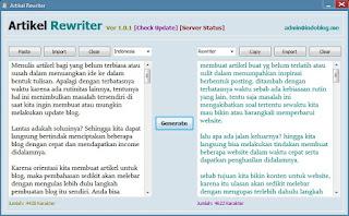 Artikel Rewriter , Konten Spinner, Articles Spintax Generator Indonesia dan Inggris