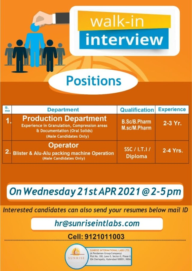 Sunrise Pharma | Walk-in interview for Production on 21st Apr 2021