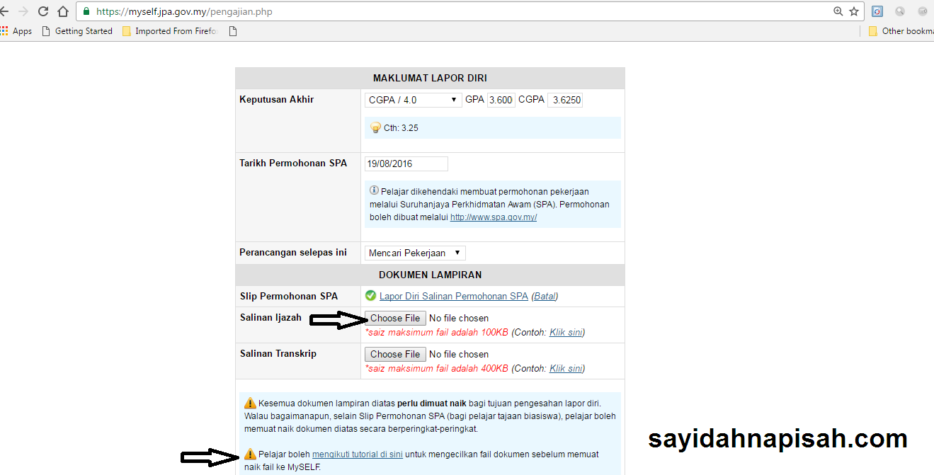 done Lapor Diri Tamat Pengajian (JPA) Secara Online!