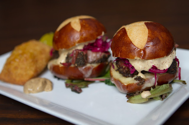 Short Rib Pastrami Sliders at Liv's Oyster Bar