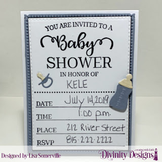 Divinity Designs Stamp: Baby Shower, Custom Dies: Double Stitched Rectangles, Snowflake Sky, Baby Blessings