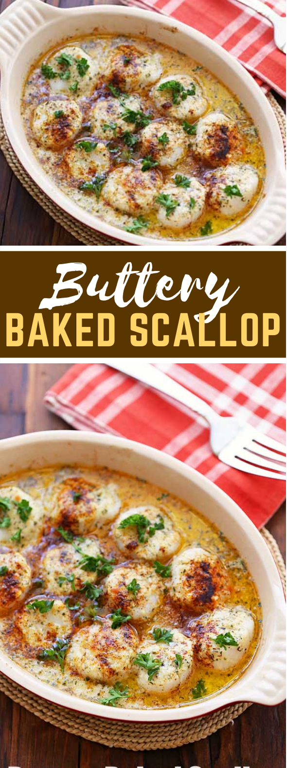 Buttery Baked Scallops #dinner #seafood
