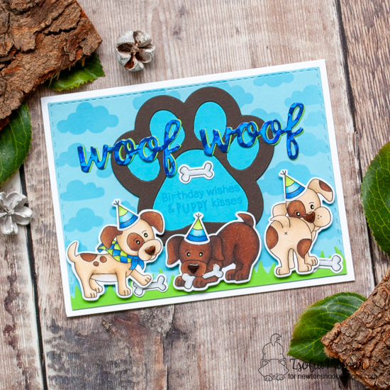 Puppy Birthday Card by Zsofia Molnar | Puppy Playtime Stamp Set, Cloudy Sky Stencil, Land Borders Die Set and Pawprint Shaker Die Set by Newton's Nook Designs #newtonsnook #handmade