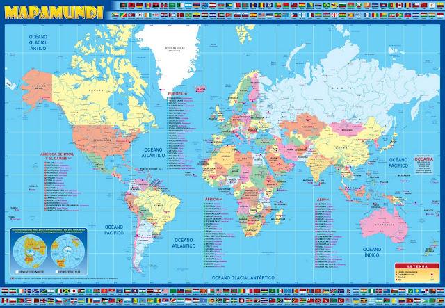 Lamina Mapamundi mapa del mundo