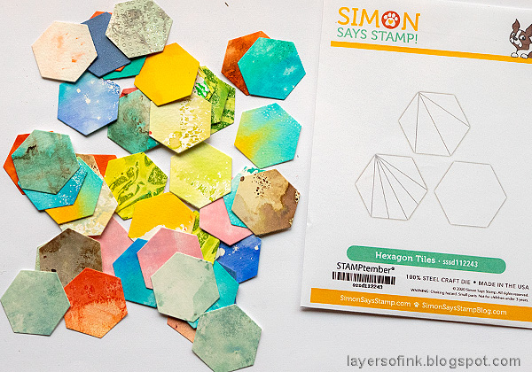 Layers of ink - Honeycomb Patchwork Tutorial by Anna-Karin Evaldsson. Die cut with SSS Hexagon tiles.