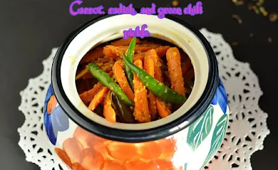 Make carrot, radish, and green chili pickle in the home
