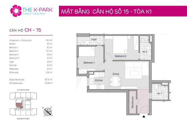 Thiết kế căn hộ 15 tòa K1 chung cư THE K-PARK