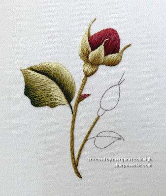 Burgundy Rosebuds (by Trish Burr): Thread painted leaves and stems in progress