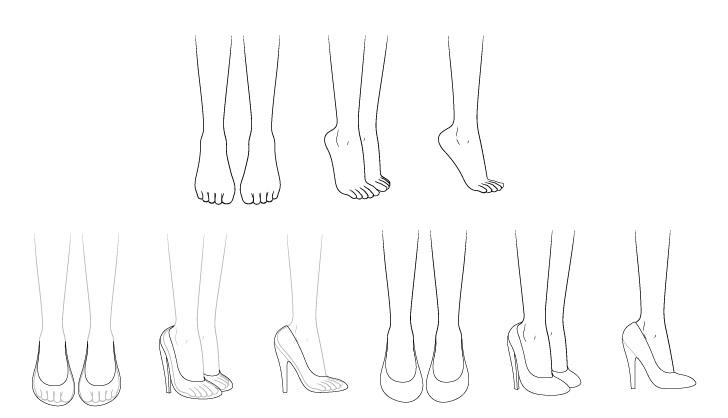 Sepatu hak tinggi anime menggambar langkah demi langkah