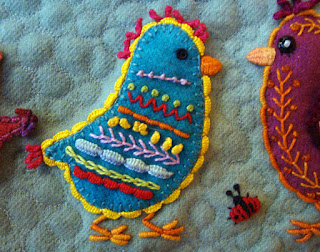 Chickadees, a wall quilt by Carrie Unick, detail