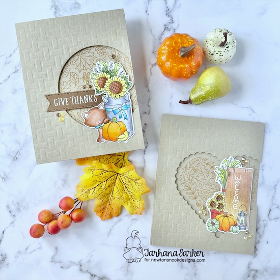 Fall themed card set by Farhana Sarker | Paw-tumn Newton Stamp Set, Fall Roundabout Stamp Set, Signs of Fall Stamp Set, Heartfelt Fall Stamp Set, Circle and Heart Frames Die Sets and Basketweave Stencil by Newton's Nook Designs #newtonsnook