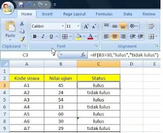 Fungsi IF Sederhana di Ms. Excel 2007