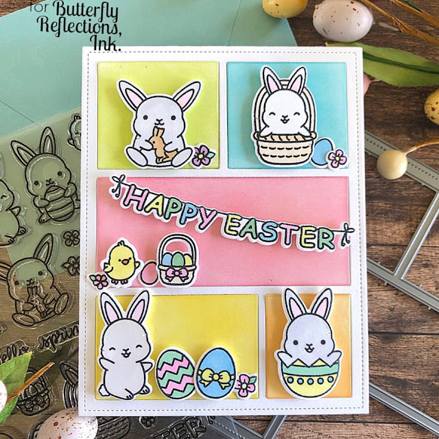 Sunny Studio Stamps: Chubby Bunny & Comic Strip Everyday Dies Easter card by Dana Kirby