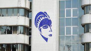 Gabon Telecom tower has a graffity at the wall