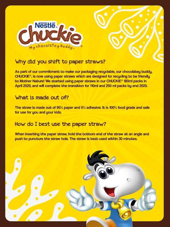 Nestle Chuckie paper straw shift FAQs