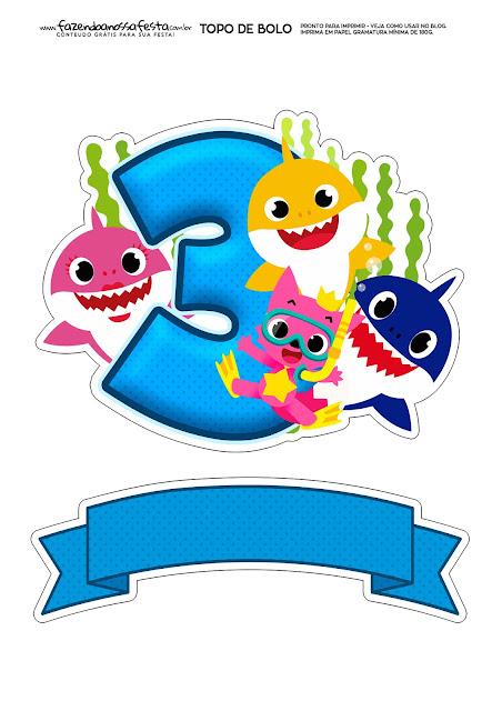 Fiesta de Baby Shark con el número 3: Toppers para Tartas, Bizcochos o Pasteles para Imprimir Gratis.