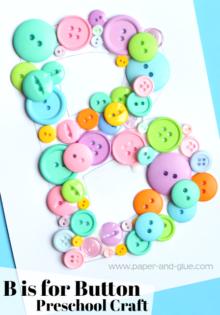 Letter of the Week Preschool Craft- B is for Button.  Simple, fun, and easy fine motor craft for kids!