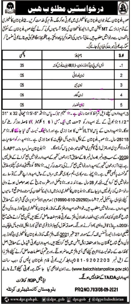 Police Department Latest Jobs For Constables 2021 in Pakistan