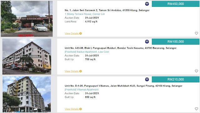 Senarai Rumah Yang Akan Dilelong Oleh LPPSA Pada 31 Julai 2021