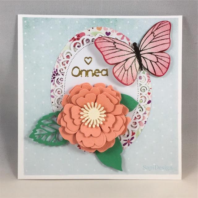 congratulations hbdcard flower butterfly handmade card Marianne Design die cutting J.K.Primeco SapiDesign