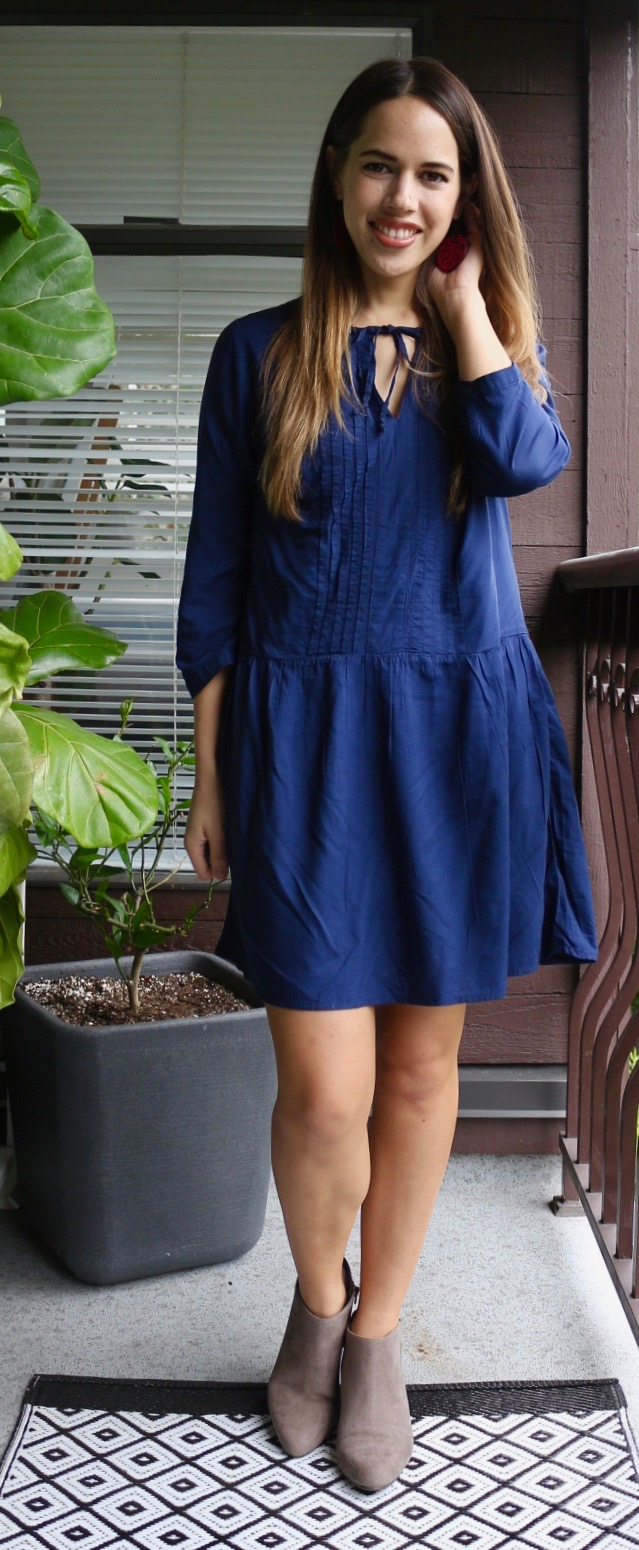 Jules in Flats - Old Navy Tie-Neck Pleated Dress with Suede Booties