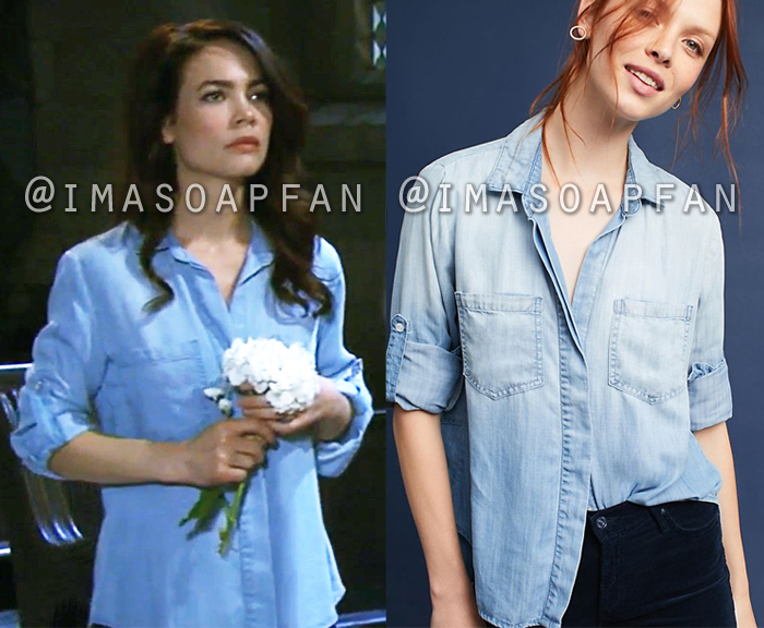 Elizabeth Webber, Rebecca Herbst, Blue Split-Back Chambray Shirt, Cloth and Stone, General Hospital, GH