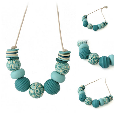 Chunky Statement Necklace in teal blue hues by Lottie of London Jewellery
