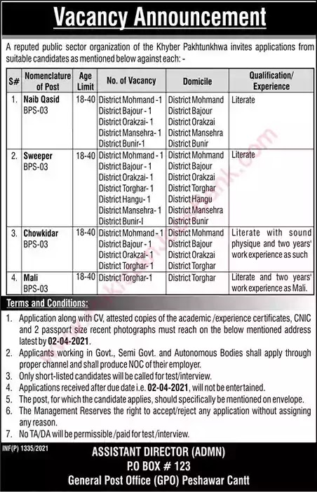 Latest Jobs in Pakistan PO Box 123 GPO Peshawar Jobs 2021