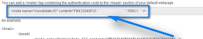 MSN Meta Tag For Verification: